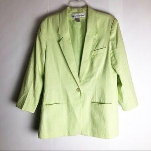 Vintage Linen One Button Blazer Green 10